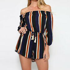 Summer New Women Sexy Off Shoulder Tied Waist Short Rompers Club Beach Jumpsuits