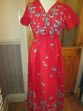 cotton traders red mix long print lined dress size 10 brand new with tags