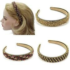 Rhinestone Lady Wide Headband Plastic Hair Band Imitation Leather Lined Gift