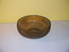 E O Brody Co Columbus OH Smoke Brown Amber Ribbed Glass Bowl Candy Dish Vintage