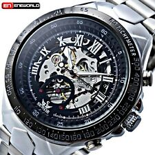 New Mens Skeleton Dial Stainless Steel Automatic Mechanical Wrist Watch With BOX