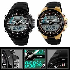 Fashion Men LED Digital Waterproof Quartz Rubber Sport Analog Wrist Watch + Gift