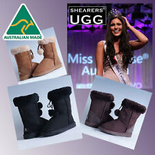 HAND-MADE Australia SHEARERS UGG Pom Pom Sheepskin Fashion Classic Short Boots