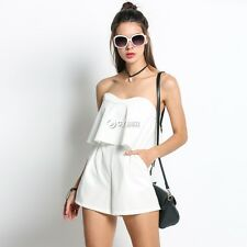 Sexy Women Off Shoulder Sleeveless Ruffles Short Pocket Jumpsuit Playsuit