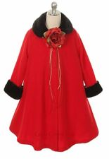 New Flower Girl Red Fleece Coat Wedding Winter Christmas Baby Toddler Fall Party