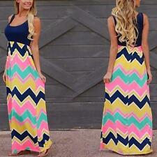 Women Summer Sleeveless Long Maxi Dress Striped Wave Casual Beach Sundress New