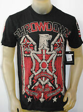 NWT THROWDOWN BY AFFLICTION MENS S/S 'SQUADRON' T-SHIRT BLK #T0921 SZ: S, L