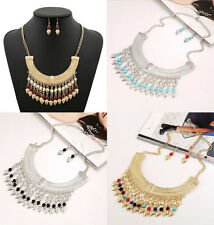Bohemian Vintage Tassel Layered Beads Choker Bib Statement Necklace Earring Set