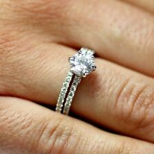 Sterling Silver wedding set CZ Round cut Engagement Ring Solitaire size 5-10 New