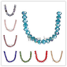 Bulk  69Colors 8x6mm Rondelle Faceted Crystal Glass Loose Spacer Colorized Beads