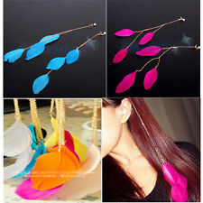 BOHEMIAN BLUE/PINK FEATHER TASSEL CHAIN PEARL CLIP IN HAIR EXTENSION PIN HIPPIE