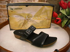 Aetrex Lilly Black Leather Comfort Slide Sandal NEW
