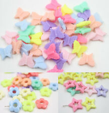 50PCS Mixed Color Butterfly Flower Acrylic Spacer Findings Loose Beads Charms