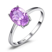 1.1ct Genuine Amethyst Solitaire Ring Solid 925 Sterling Silver  Size 6 7 8 9
