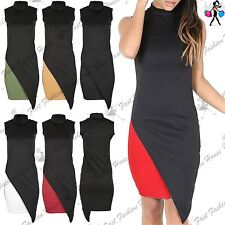 Womens Turtle Polo Bodycon Ladies Asymmetric Cut Out Ladies Top Midi Dress
