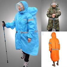 Unisex Outdoor Raincoat Backpack Rain Cover Poncho Hiking Camping 190T Rain Gear