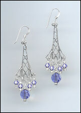 Sparkling Silver Earrings made with Swarovski TANZANITE PURPLE Crystals