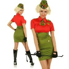 Womens US Army Girl Costume Pin Up Military Soldier Fancy Dress Party Outfit