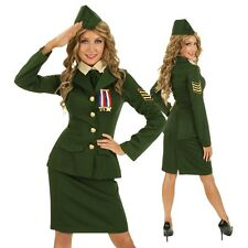 Womens Army Pin Up Girl Costume Military Officer Role Play Party Outfit & Hat