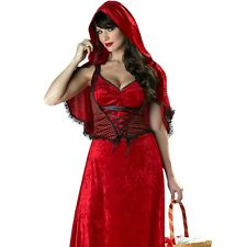 Womens Little Red Riding Hood Costume Storybook Fairytale Halloween Party Outfit