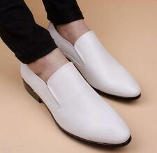 Mens pointy toe dress formal pull on wedding casual leather shoes loafer