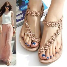 Women Summer Casual Flats Bohemia Flower Floral Beach Sandals Strappy Shoes