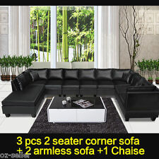 PU Leather Sofa Lounge Couch Suite Chaise Furniture Corner Setting Brand New