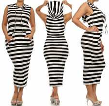 PLUS MIDI MAXI TANK HOODIE DRESS WHITE BLACK STRIPE SLEEVELESS KANGAROO POCKET