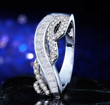 New Woman's Sapphire  925 Silver Filled Wedding Engagement Bridal Ring SIZE 6-10