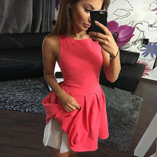 Summer Women Sexy O Neck Sleeveless Pleated Cocktail Evening Party Mini Dress