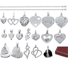 HEART PENDANT LOVERS Saint Valentine Sterling Silver + CHAIN choice New