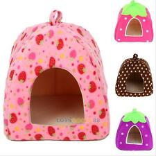 Soft Strawberry Pet Dog Cat Bed House Kennel Doggy Warm Cushion Basket 4 Sizes