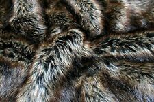 Super Luxury Faux Fur Fabric Material - BROWN BLACK