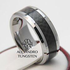 Black Tungsten Ring Wedding Anniversary Band 8MM Casual Design Size 6 to 14