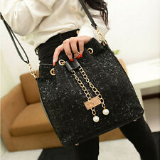 Women Lady Chain Drawstring Tote Handbag Shoulder Crossbody Messenger Bag Purse