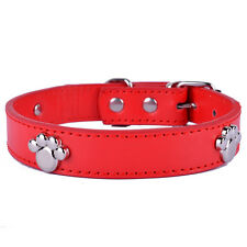 RedLeather Dog Collar Paw Shaped Studded Charms Small Teddy Pet Products ForDogs