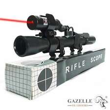 4X20 Tactical Hunting Rifle Optics Scope + Red Dot Laser Sight + Ring Rail Mount