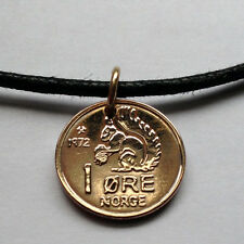 Norway 1 ore coin pendant cute SQUIRREL Norwegian necklace Viking Norge n000104