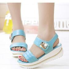 Summer Girls Womens Peep-toe Leather Block Sandals Wedges High Platform Shoes LG