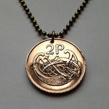 Ireland 2 Pingin coin pendant necklace IRISH stylized BIRD Gaelic harp n0001118