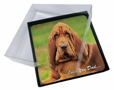 4x Basset Hound Dog 'Love You Dad' Picture Table Coasters Set in Gift B, DAD-10C
