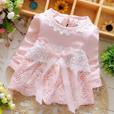 New Toddler Baby Girls Polka Dot Flower Floral Embroidery Long Sleeves Dress