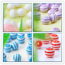 "Bulk 50pcs Round Acrylic Striped beads ""COLOR"" Jewelry Making Necklace Bracelet"