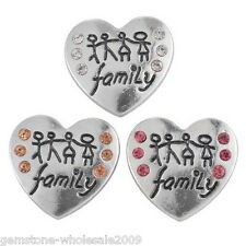 W09 Wholesale Lots Heart Snap Buttons Family Theme Love Regualr Necklace DIY