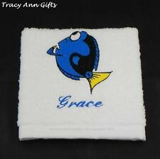 PERSONALISED FINDING DORY FACE CLOTHS/FLANNELS & TOWELS WHITE 100% COTTON
