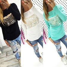 Trendy Women Long Sleeve Tear Letter Casual Cotton T-Shirts Hoodies Tops Blouse