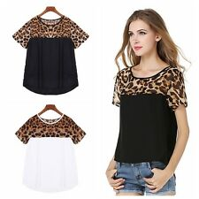 Cool Women Short Sleeve Leopard Printed Casual T-Shirts Tee Solid Tops Blouse