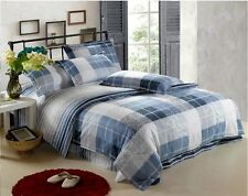 Cotton Single/Double/Queen/King Bed Quilt/Duvet Cover Set/Pillow Cases Blue&Grey