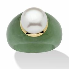PalmBeach Round Cultured Freshwater Pearl Green Jade 10k Yellow Gold Ring Natura