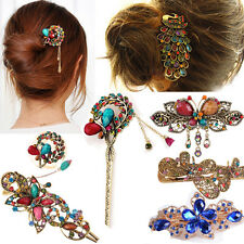 Colorful Women Retro Crystal Butterfly Flower Hairpins Hair Stick Hair Clip CHIC